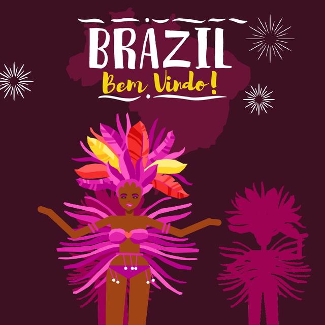 Ontwerpsjabloon van Animated Post van Women Dancing at Brazilian Carnival