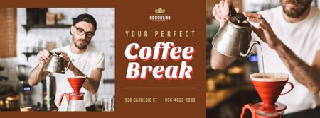Barista brewing coffee Facebook cover Modelo de Design