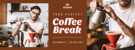 Plantilla de diseño de Barista brewing coffee Facebook cover