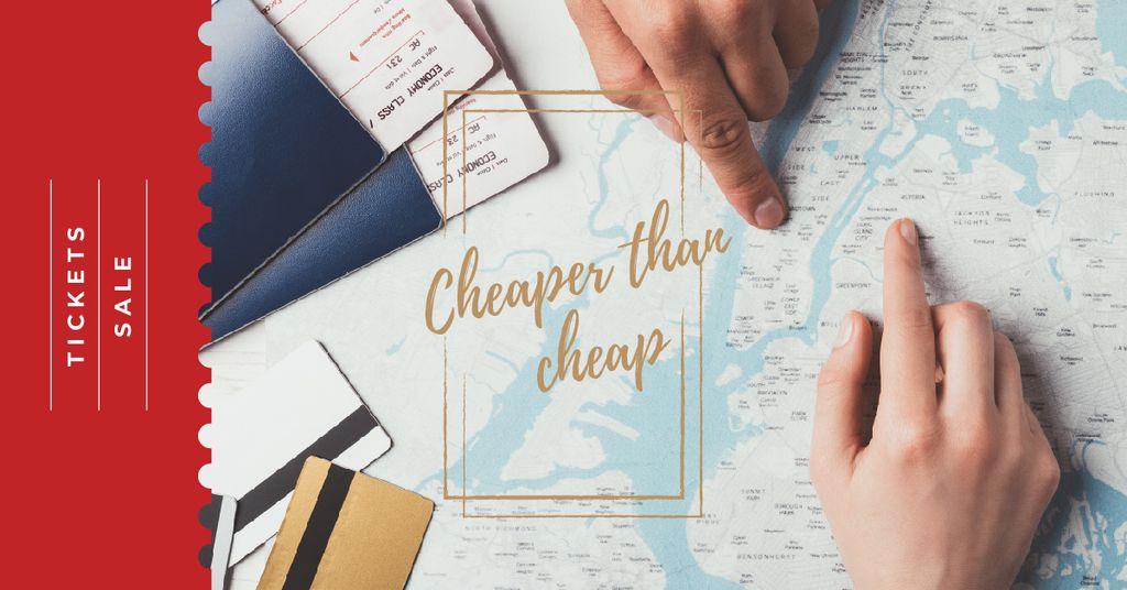 Tickets Sale Choosing Journey Destination on Map — Maak een ontwerp