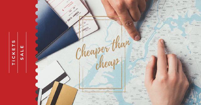 Tickets Sale Choosing Journey Destination on Map Facebook AD Tasarım Şablonu
