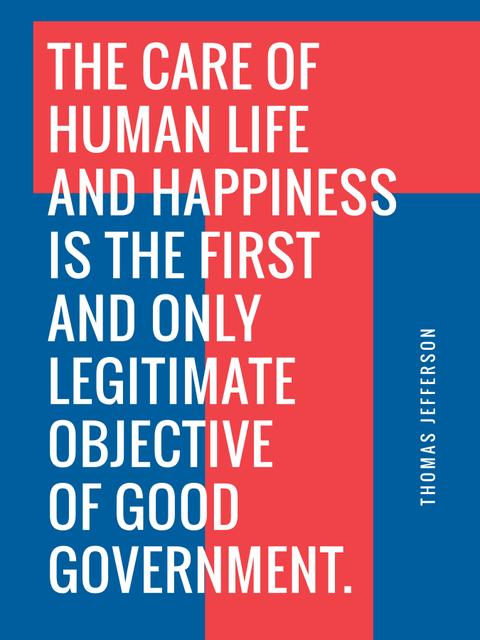 Ontwerpsjabloon van Poster US van Government Quote on blue and red