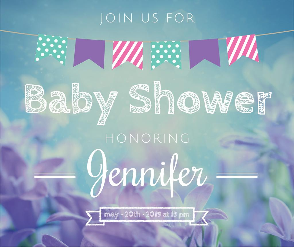 Baby Shower Invitation Blooming Flowers in Blue | Facebook Post Template — Створити дизайн