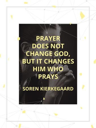 Template di design Religion Quote with Woman Praying Poster US