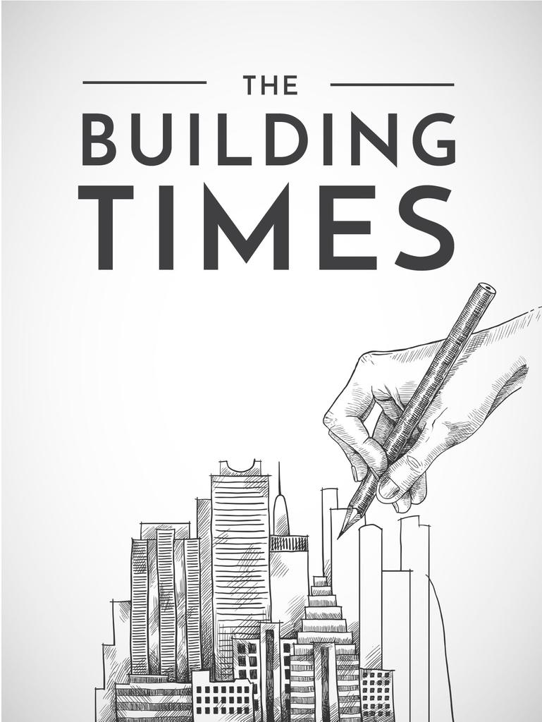Building Times Illustration With Hand Drawing Buildings Poster Us