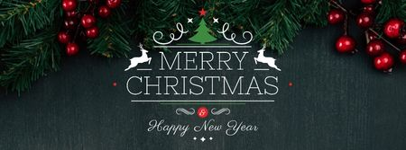 Plantilla de diseño de Christmas Greeting with Fir Tree Branches Facebook cover