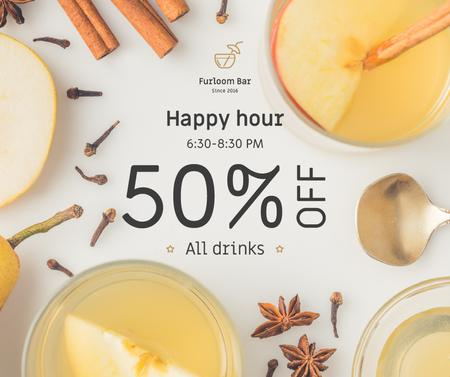 Plantilla de diseño de Happy Hours Offer White Mulled Wine Facebook