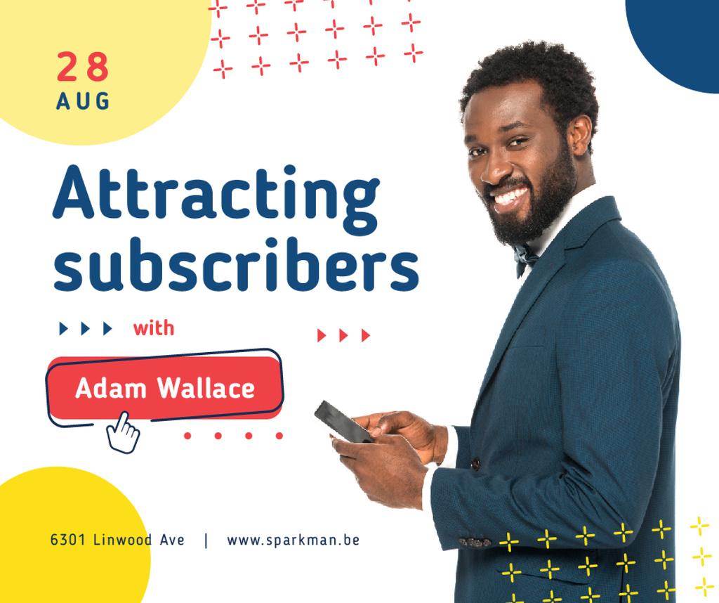 Social Media Ad Smiling Man Using Smartphone | Facebook Post Template — Створити дизайн