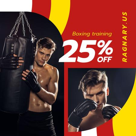 Plantilla de diseño de Gym Offer Man in Boxing Gloves Instagram AD