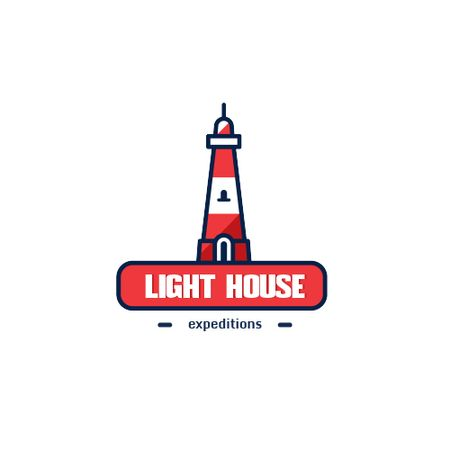 Travel Expeditions Offer with Lighthouse in Red Animated Logoデザインテンプレート