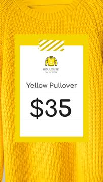 Clothes Store Offer Knitted Sweater in Yellow