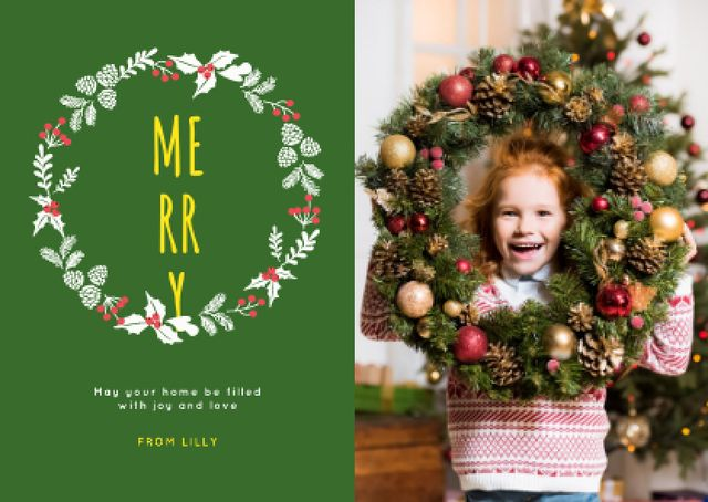 Modèle de visuel Christmas Greeting Little Girl with Decorated Wreath - Card
