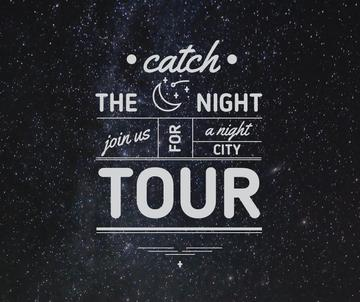 Night city tour invitation on Starry sky