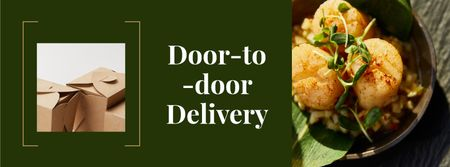 Food Delivery Offer with Tasty Dish Facebook cover Tasarım Şablonu