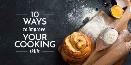 Improving Cooking Skills poster with freshly baked bun Image – шаблон для дизайна
