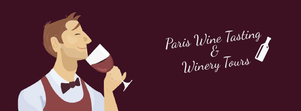 Sommelier Smelling Wine in Red | Facebook Video Cover Template — Modelo de projeto