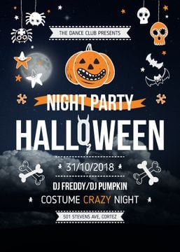 Halloween Night Party Invitation Scary Icons | Flyer Template