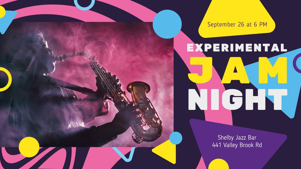 Designvorlage Concert Invitation Musician Playing Saxophone für FB event cover