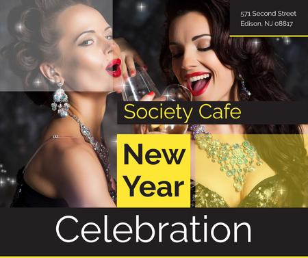 New Year Party Invitation Women Celebrating Facebook Modelo de Design