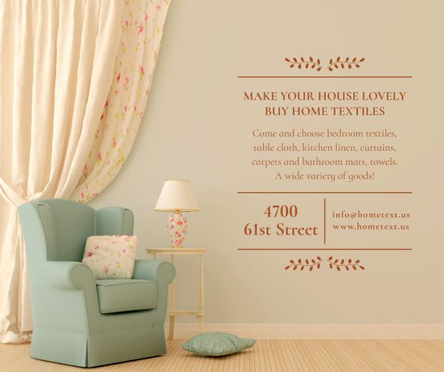 Furniture Sale with Armchair in cozy room Facebook Tasarım Şablonu