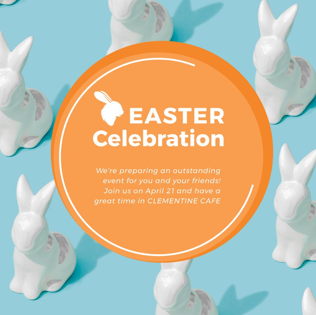 Easter Greeting with Bunny Figures in blue — Créer un visuel