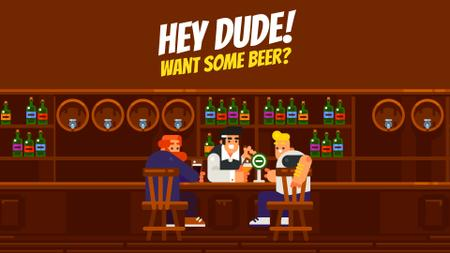 Plantilla de diseño de Pub Invitation Men with Drinks at the Bar Counter Full HD video