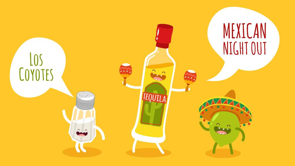 Mexican Party Dancing Tequila, Lime and Salt Characters — Створити дизайн