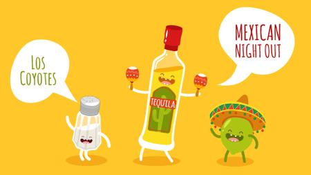 Mexican Party Dancing Tequila, Lime and Salt Characters Full HD video Tasarım Şablonu