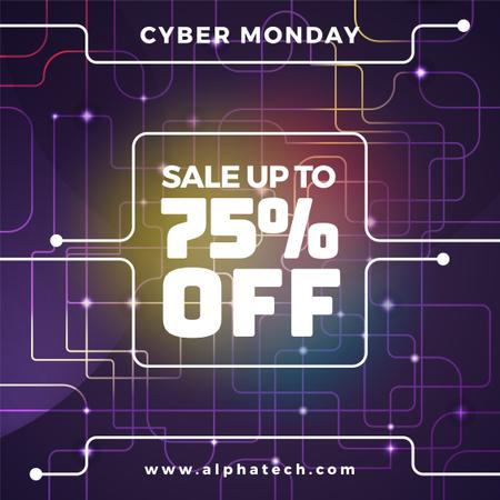 Cyber Monday Sale on Digital network pattern Instagram AD Design Template