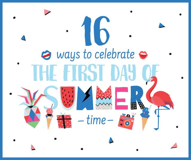 Ontwerpsjabloon van Facebook van Vacation collage for First Day of Summer