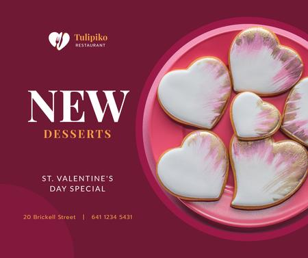 Ontwerpsjabloon van Facebook van Valentine's Day Heart-Shaped Cookies