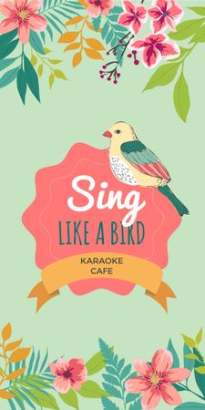Plantilla de diseño de Karaoke Cafe Ad with Cute Singing Bird in Flowers Graphic