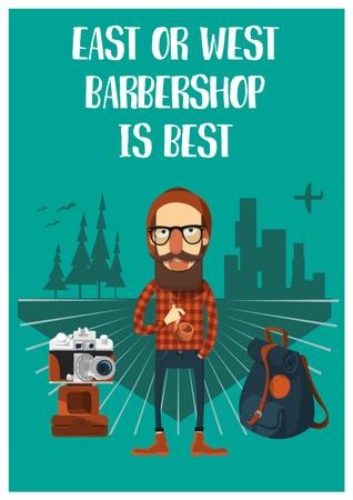Cartoon illustration of Barbershop Poster Modelo de Design