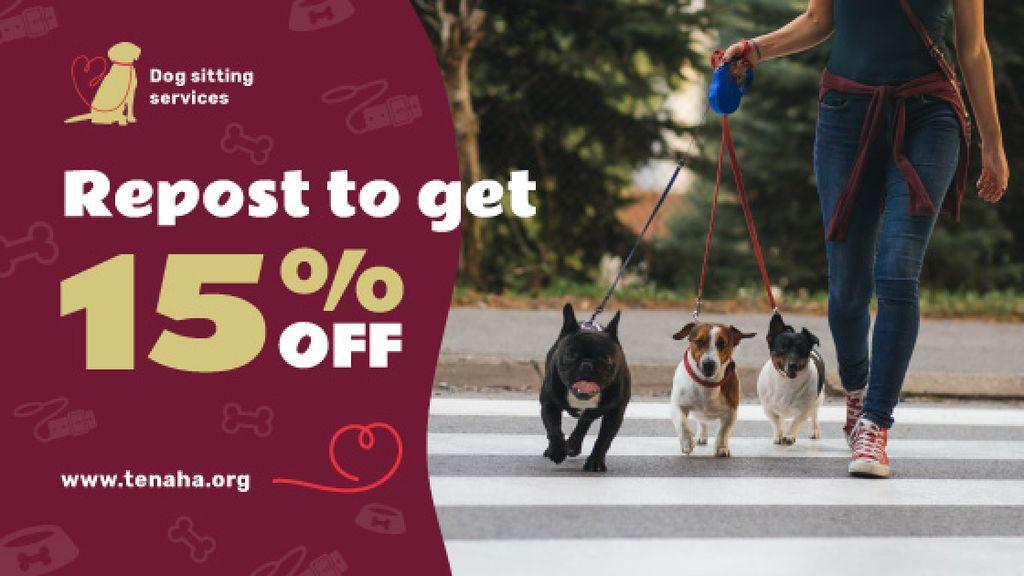Dog Sitter Walking with Dogs on Street — Створити дизайн