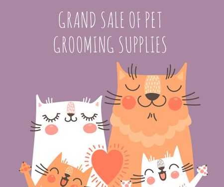 Ontwerpsjabloon van Medium Rectangle van Grand sale of pet grooming supplies