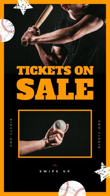 Modèle de visuel Match Tickets Sale Man Playing Baseball - Instagram Story