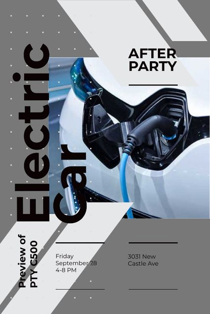 Template di design After Party invitation with Charging electric car Tumblr