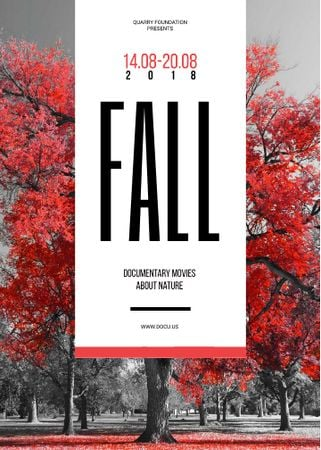 Plantilla de diseño de Film Festival Invitation with Autumn Red Tree Invitation