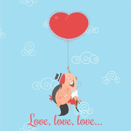 Designvorlage Valentines Day Greeting with Couple on Heart Balloon für Animated Post