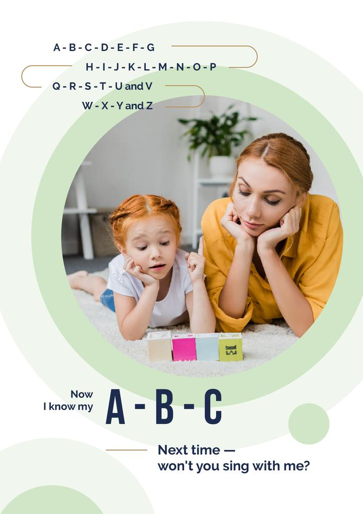 Mother Teaching Her Daughter | Poster Template — Create a Design