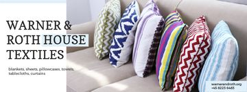 Home Textiles Ad Pillows on Sofa | Facebook Cover Template