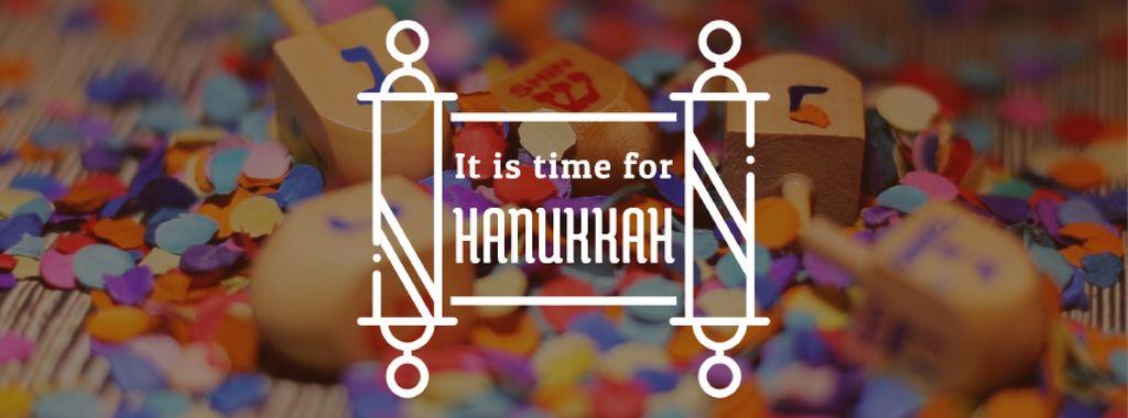 Happy Hanukkah dreidels and scroll — Modelo de projeto