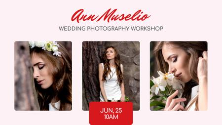 Wedding Photography offer Bride in White Dress FB event cover Modelo de Design