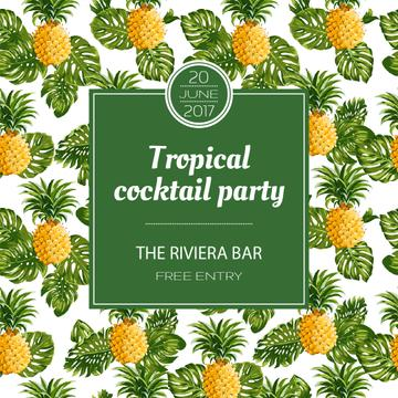 Tropical cocktail party Invitation wth pineapples