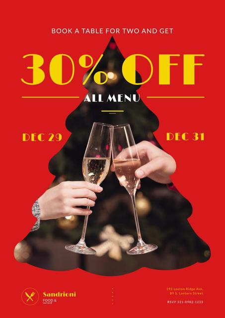 Modèle de visuel New Year Dinner Offer with People Toasting with Champagne - Poster