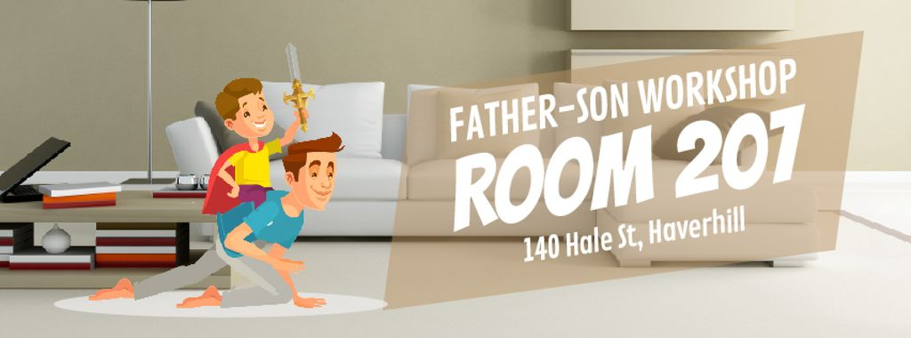 Dad and son playing knights — Crea un design