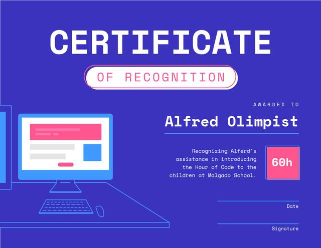 Modèle de visuel Coding Education program Teacher Recognition in blue - Certificate
