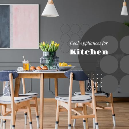 Stylish kitchen interior on Grey Instagram – шаблон для дизайна
