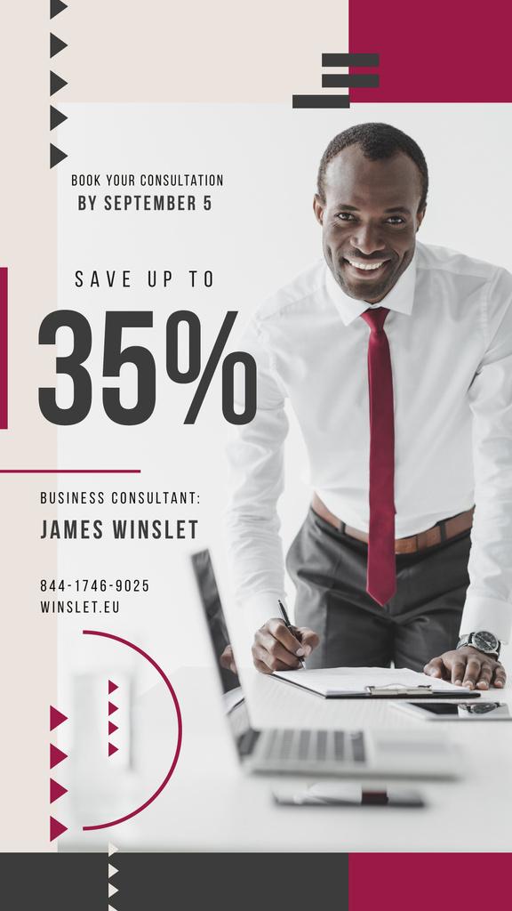 Business Event Announcement Smiling Man by Laptop — Crear un diseño