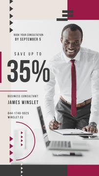 Business Event Announcement Smiling Man by Laptop | Stories Template